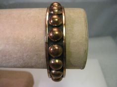 "Vintage Copper Southwestern Bangle Bracelet - 7.75"" - half ball accents #unbranded"