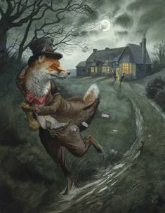 Quick Getaway by Chris Dunn Illustration. Fox runs away from a pub card game, along a moonlit country track. Art And Illustration, Book Illustrations, Tag Art, Chris Dunn, Fairytale Art, Whimsical Art, Graphic, Illustrators, Fantasy Art