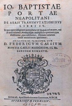 """Title page of """"De aeris transmutationibus libri IV...."""" by Giambattista della Porta, c. 1614    NOAA Central Library"""
