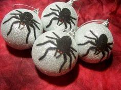 4 Glitter Spider Ornaments
