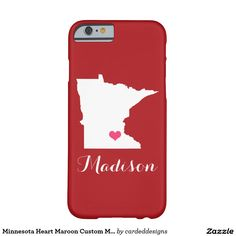 Minnesota Heart Maroon Custom Monogram Barely There iPhone 6 Case