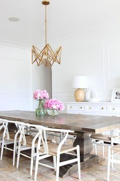 White sleek modern bright eclectic dining room