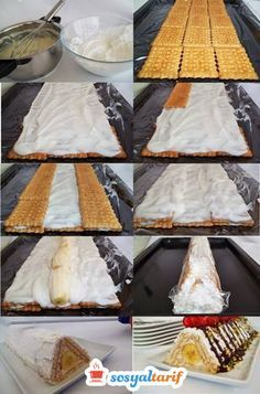Pyramid Cake Making - - How To Make Cake, Food To Make, Pasta Cake, Cake Recipes, Dessert Recipes, Biscuit Cake, Yummy Food, Tasty, Mini Cheesecakes