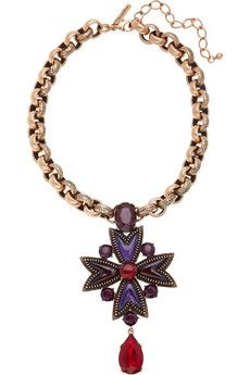 Oscar de la Renta: 24-karat gold-plated crystal and cabochon necklace, £785. With a royal pendant studded with purple and red crystals and cabochons, this piece is tailor-made for the season's Baroque love affair.