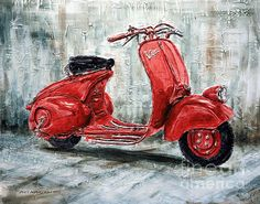 """1947 Vespa 98 Scooter Painting by Joey Agbayani 16"""" x 20"""", Acrylic on canvas"""