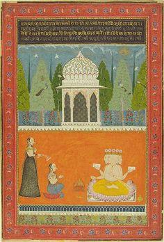 Jai Kishan of Malpura, Khambhavati Ragini, Lady Worships Brahma, from a Ragamala Series (Garland of Melodies), 1756, Harvard Art Museums/Arthur M. Sackler Museum.