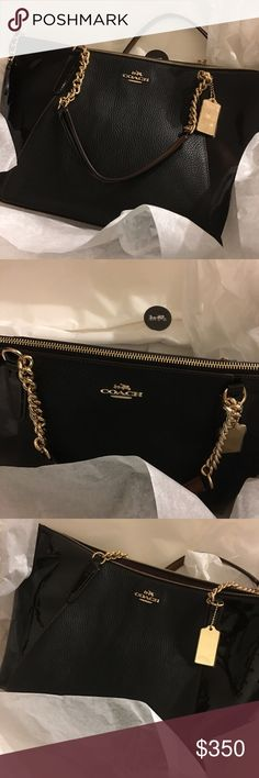 """Coach AVA Chain Tote Pebble and Patent leather interior 3 slip pockets and 1 zip outside slip pocket approximate 16.75"""" L x 9.75"""" H x 5"""" gorgeous suede interior 9"""" handle drop Coach Bags Totes"""