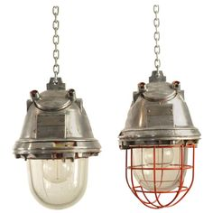 Vintage Industrial German Pendant Mine Lights | From a unique collection of antique and modern chandeliers and pendants at https://www.1stdibs.com/furniture/lighting/chandeliers-pendant-lights/
