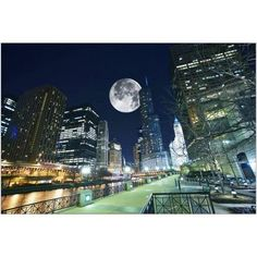 Dramatic View of Chicago at Night, with Large Moon in the Sky Photography by Eazl, Size: 24 x 16, Blue