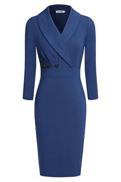 Ninedaily Women Lapel Neck Button 3/4 Sleeve Bodycon Wear to Work Pencil Dress at Amazon Women's Clothing store: