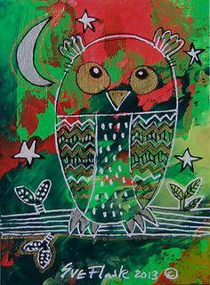 ACEO 2013 Original Acrylic Painting XMas Artwork - Christmas Owl by Sue Flask