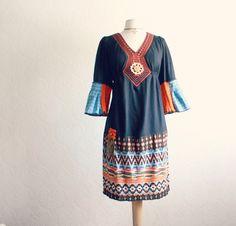 Navy Blue Women's Peasant Dress by BrokenGhostClothing on Etsy, $82.00