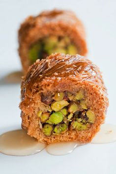 yummy baklava ! could eat this treat anytime !  Recipe | Warm Baklava with Nuts  Honey