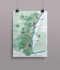 Création d'une nouvelle carte touristique  #carte #guidetouristique #bloccarte #illustrations #alsace #noël2018 #agenceattractivitéalsace #agencediedrei #strasbourg Strasbourg, Alsace, Creations, Illustrations, Tourist Map, Illustration, Illustrators