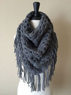 Ravelry: Big Triangle Blanket Fringe Scarf pattern by Knitting Wonders (Sierra)