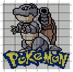 Free knitting chart of Blastoise the Pokemon. Pokemon Go, Pokemon Pokedex, Pokemon Party, Pokemon Stuff, Pikachu, Knitting Charts, Knitting Patterns Free, Free Knitting, Cross Stitch Designs