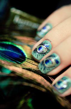 Dior Bird of Paradise Peacock nail art