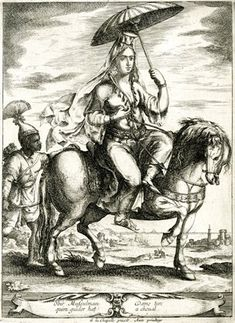 Turkish woman with umbrella, on horseback, followed by a Black page.  c.1648 Engraving