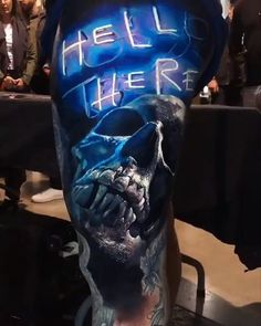 'Hell There' tattoo by Eliot Kohek & Michael Taguet in Annecy, France : BeAmazed Skull Tattoos, Body Art Tattoos, Sleeve Tattoos, Cover Up Tattoos For Men, Tattoos For Guys, Badass Tattoos, Cool Tattoos, Totenkopf Tattoos, Fusion Ink