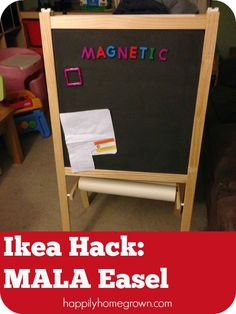 IKEA Hack of the MÅLA Easel - Turn this inexpensive wooden easel into a beautiful magnetic easel in a few simple steps.
