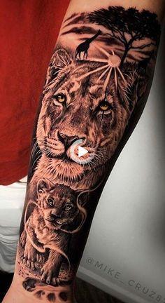 Animal Sleeve Tattoo, Lion Tattoo Sleeves, Best Sleeve Tattoos, Sleeve Tattoos For Women, Tattoo Sleeve Designs, Arm Tattoos For Guys, Lion Sleeve, Animal Tattoos For Men, Lion Forearm Tattoos