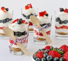 This Strawberry Blueberry Mini Cheesecake Trifle recipe is easy and delicious! Creamy, no-bake cheesecake is layered with berries and a simple crumble. 4th Of July Desserts, Mini Desserts, Just Desserts, Delicious Desserts, Dessert Recipes, Patriotic Desserts, Memorial Day Desserts, Parfait Recipes, Party Recipes