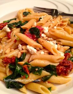 Mediterranean Pasta with spinach, feta, sun dried tomatoes and pine nuts
