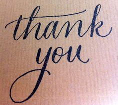 Custom Modern Calligraphy Thank You Stamp by EverlyCalligraphy