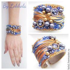 Купить Шибори браслет (васильковый) - васильковый, золотой, рыжий, бежевый, коричневый, голубой, шибори