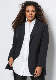 """We updated our classic boyfriend blazer with a new bi-stretch fabric, making it better than ever.  relaxed silhouette single button front faux flap pockets back slit hem drops to about 32"""" polyester/rayon/spandex with polyester lining, machine wash, imported  Women's plus size blazers, jackets, tops - bi-stretch boyfriend blazer by denim 24/7 In Style Now!The newest (and most perfect) addition to our boyfriend collection."""