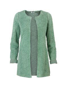 Groen zacht vest met lange mouwen en een ronde hals. Deze cardigan kan worden omgedraaid, zodat het vest grijs is. Het is een openvallend model, gemaakt van furry katoen polyester kwaliteit. Lengte tot over de heupen.