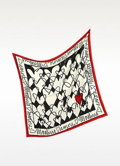 Moschino Archivio Moschino - Heart Print Silk Square Scarf | FORZIERI