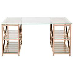 Nelson Rose Gold Steel 4-Shelf Home Office Desk