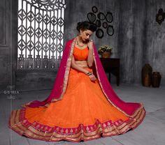 Orange And Rani Color Soft Net Party Wear Lehenga Choli - ClickOnBazar