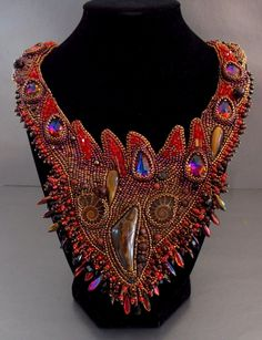 Free Shipping, Bead Embroidery, Collar Necklace, Statement necklace, Seed beaded jewelry, Swarovski, Red,  Bronze,  Ammonite gemstone