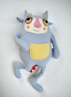 Stuffed Animal Baby Monster Upcycled Cashmere Sweater This silly baby monster is made from a wonderful and very soft periwinkle cashmere sweater. This is a wonderful colored sweater and it is oh so very soft and felted up so nicely. I am really happy with how this monster turned out, he just makes my heart melt when I look at him. He measures right at 16 inches tall. He is a nice size and weight to go along on adventures, whether they be camping, the park or simply going to the grocery…