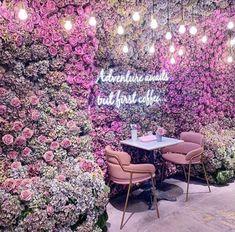 "Flowers 💐 on Twitter: ""… "" Coffee Shop Design, Cafe Design, Design Design, Rosa Millennial, Decoration Restaurant, Pub Decor, Flower Cafe, Unique Cafe, Cute Cafe"