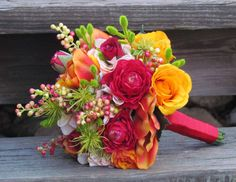 Bright Spring Wedding Bouquet...Ready to Ship. $70.00, via Etsy.