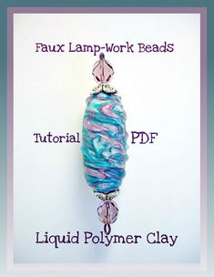 This 2-part Polymer Clay Faux Lampwork tutorial will guide you step by step on How To create fabulous focal beads. It includes 38 pages of easy to understand instructions, and 63 color images, plus Gallery photos of completed projects. This liquid clay technique may be used on Earrings, Pendants, Beads, Charms, etc.  Learn to use Liquid Clay to imitate real glass Lamp-work beads! Plus learn a Mokume Gane technique!  Suitable for use by Beginners, Intermediate to Advanced level clayers, will…