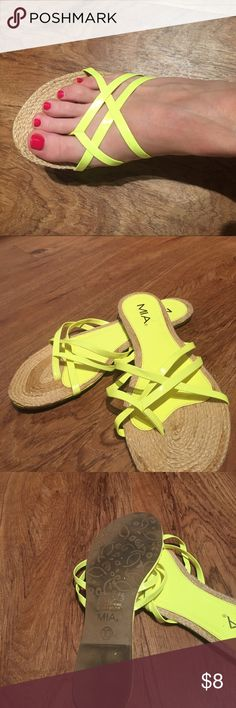 MIA Bright Neon and Neutral Cute Summer Sandals Size 10. Gently worn. 1 inch lift on sole. No wear inside. Twine padding on toes. Great to wear on the beach! 🌞 MIA Shoes Sandals
