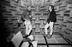 Robert Irwin and James Turrell inside the anechoic chamber at UCLA, by Malcolm Lubliner, 1969