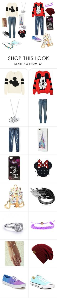 """""""disney vacation two friends and a new life"""" by beccasasssharp ❤ liked on Polyvore featuring Uniqlo, Disney, Frame Denim, Loungefly, Dooney & Bourke, Domo Beads, Vans and Converse"""