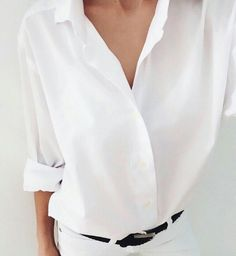 classic white, collared button down shirt (preferably one that can be buttoned/rolled up at the elbows)