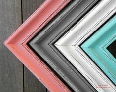 "12x16  2"" Thick Picture Frame Shabby chic  - You pick the color Mint Coral Peach Gray Blue Pink Painted and Distressed Picture Frame"
