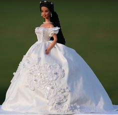 Sissi Barbie in a white silk gown
