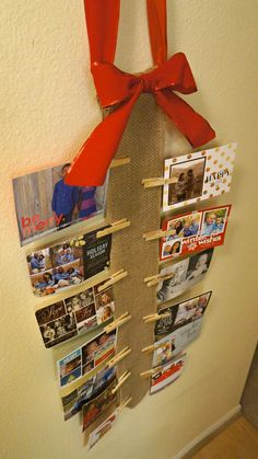 How To Display Holiday Cards - DIY Burlap Wall Christmas Card Holder