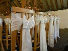 Simple Ivory Sashes at Ufton Court.  www.blueorchid-events.com