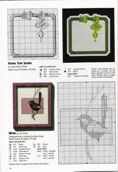 Gallery.ru / Фото #10 - 13 - tymannost Back Stitch, Cross Stitch, Australian Birds, Green Trees, Chart, Gallery, Animals, Punto De Cruz, Punto De Cruz