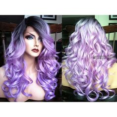 U.S.A. Pastel Purple Wavy LACE FRONT Wig w/ Skin Part Heat OK Ombre... ($83) ❤ liked on Polyvore featuring beauty products, haircare, hair styling tools, hair, straightening iron, flat curling iron, straight iron, styling iron and curling iron