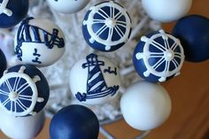 Sweet Lauren Cakes - Nautical cake pops Blue and white /ro Nautical Cake Pops, Nautical Party, Mini Cakes, Cupcake Cakes, Cakepops, Lighthouse Cake, Vintage Nautical Wedding, Cute Cakes, Themed Cakes